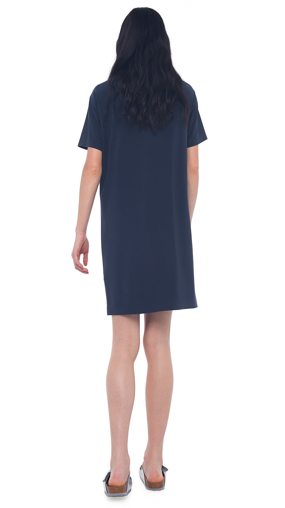 SHORT SLEEVE BOXY DRESS TO KNEE