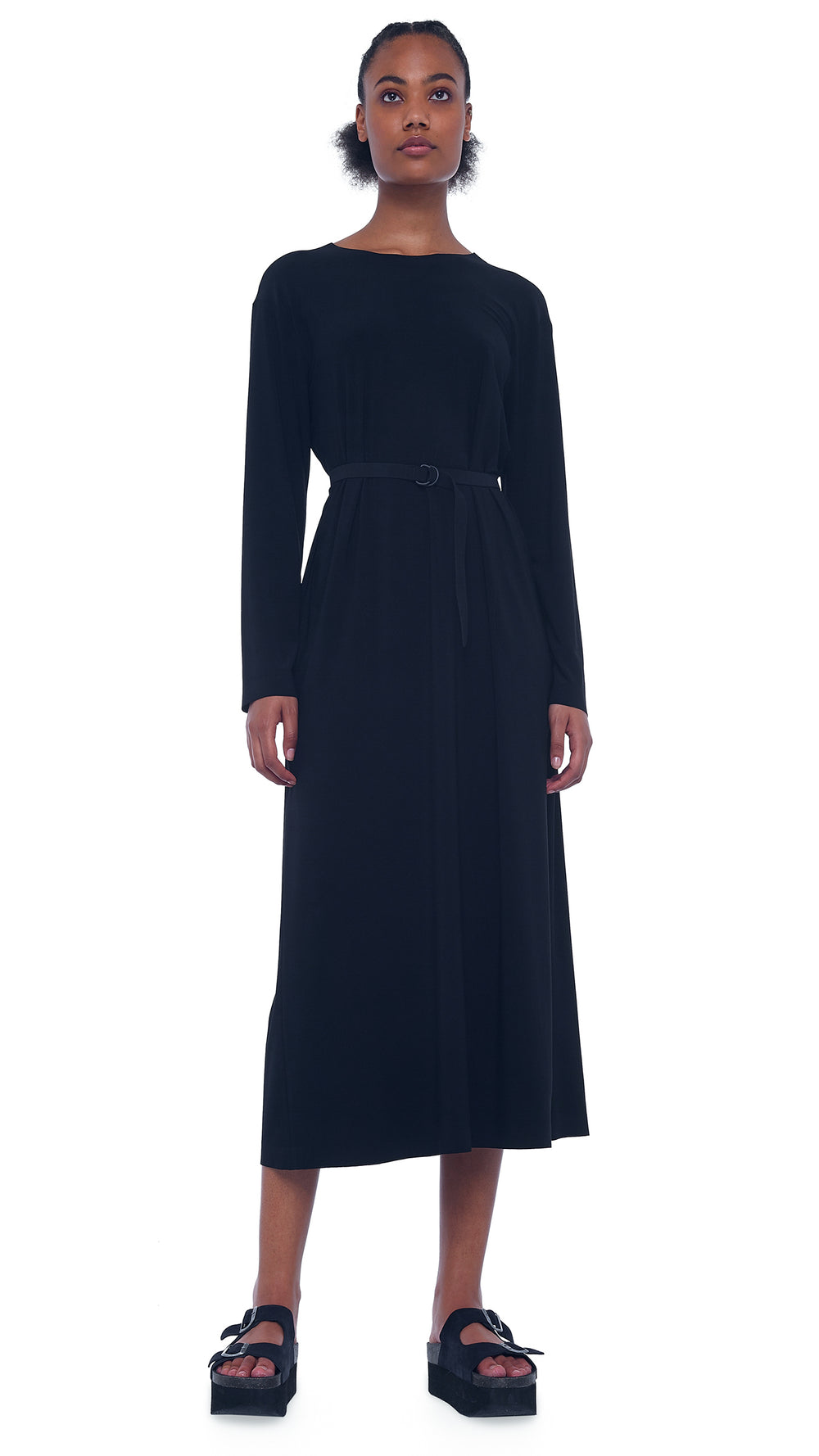 BF LONG SLEEVE CREW MIDCALF DRESS