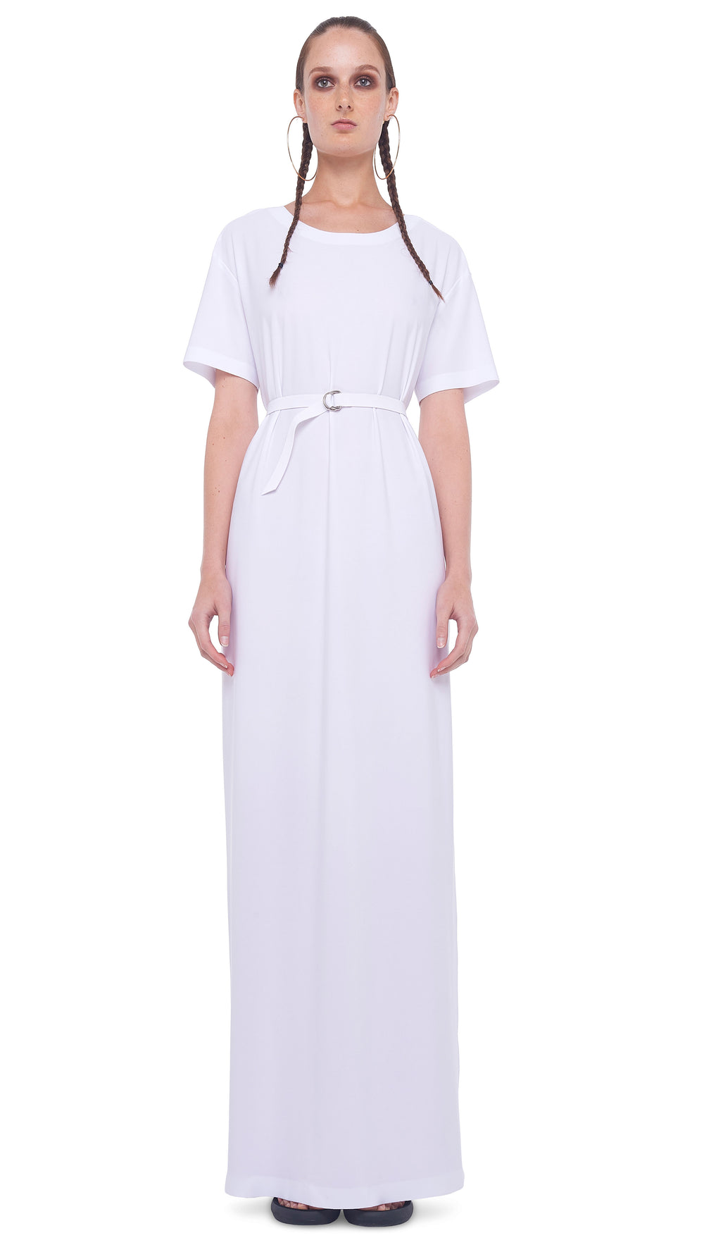 SHORT SLEEVE BOXY GOWN W/ SIDE SLIT - 1