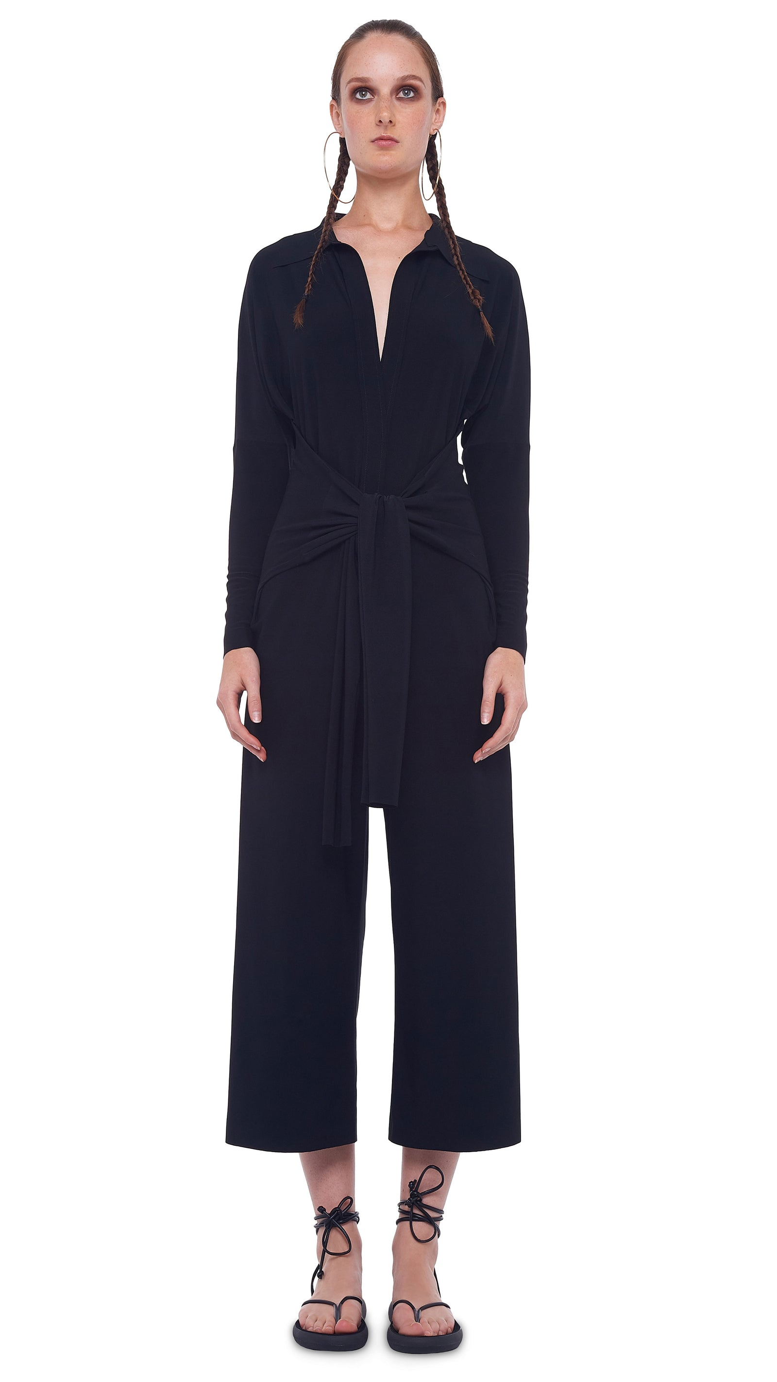TY FRONT NK SHIRT CROPPED STRAIGHT LEG JUMPSUIT - 1