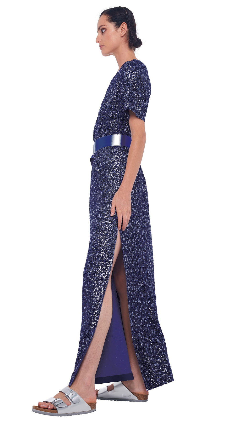 OVERLAPPING SEQUIN SHORT SLEEVES BOXY GOWN WITH SIDE SLIT