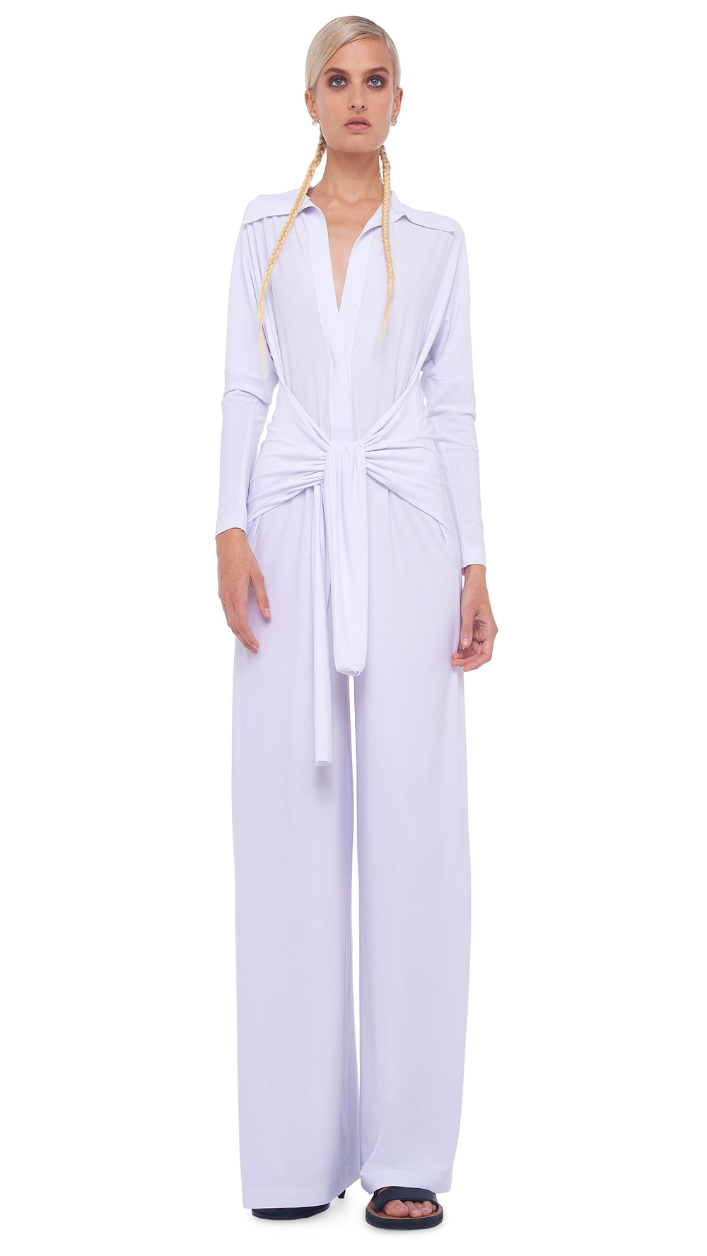 TY FRONT NK SHIRT WIDE LEG JUMPSUIT - 1