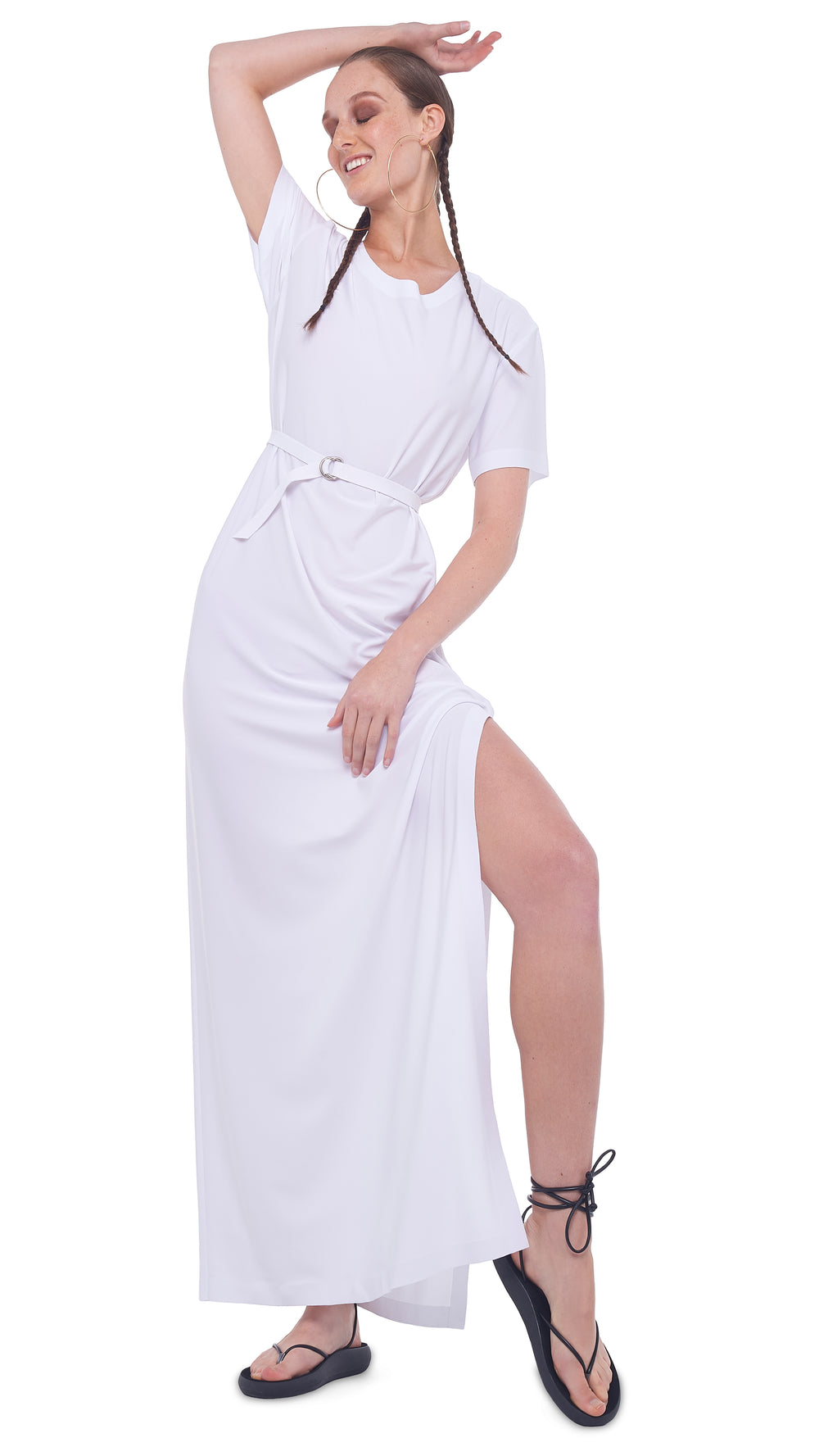 BOXY GOWN WITH SIDE SLIT