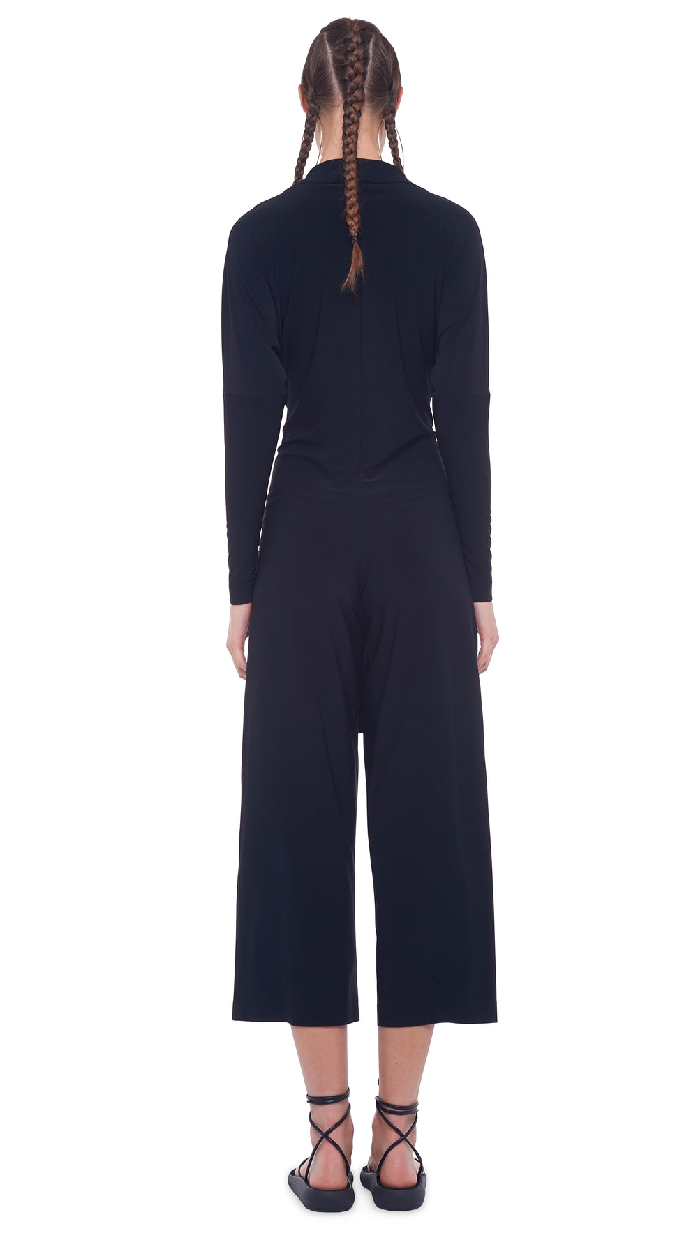 TY FRONT NK SHIRT CROPPED STRAIGHT LEG JUMPSUIT