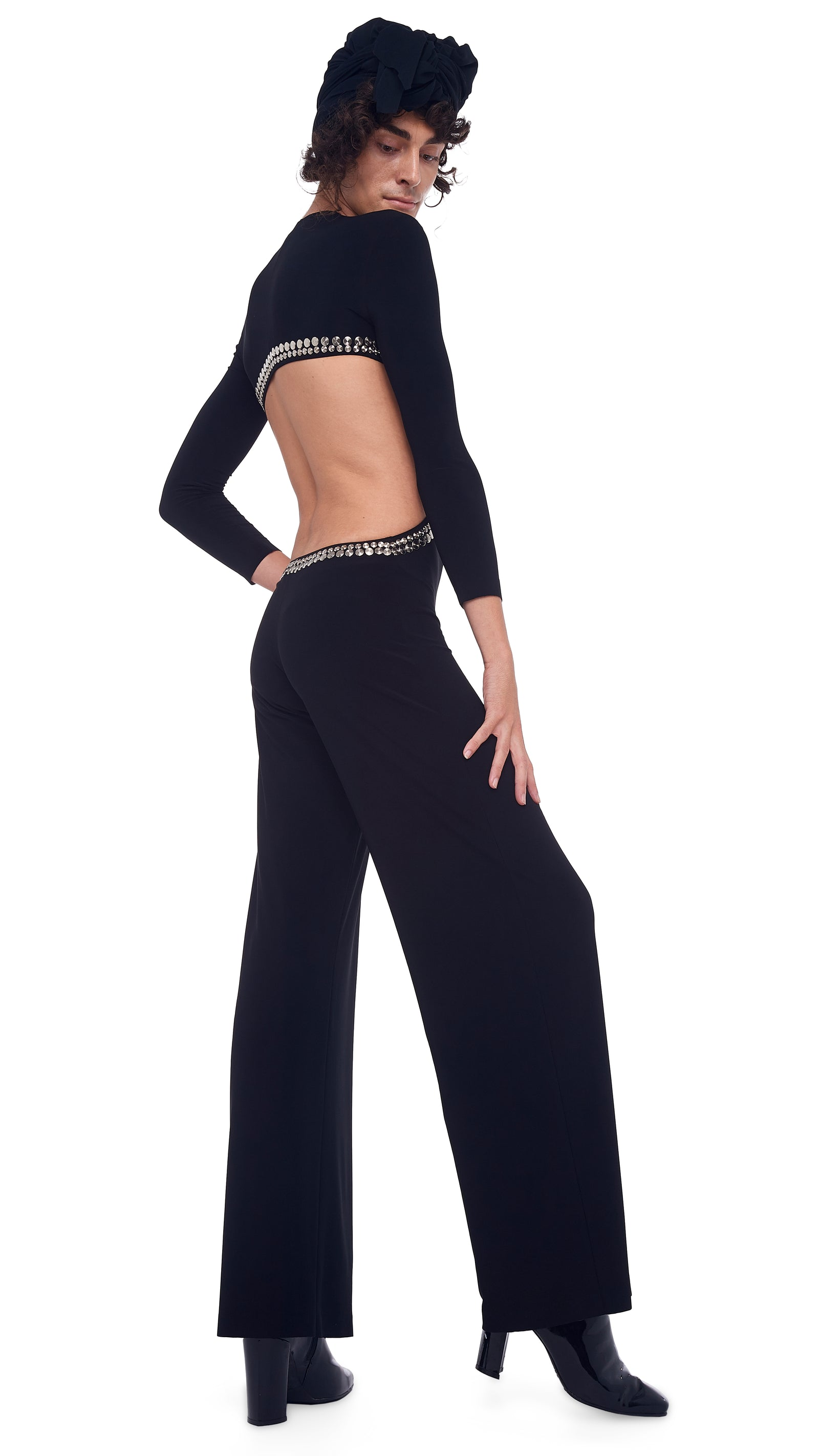 STUD LONG SLEEVE SIDE CUT OUT JUMPSUIT
