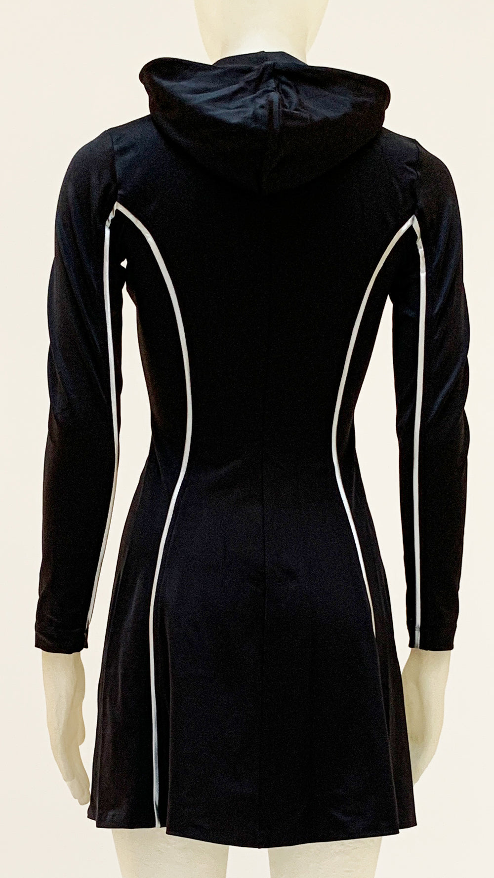 HOODED LONG SLEEVE FLARED MINI DRESS