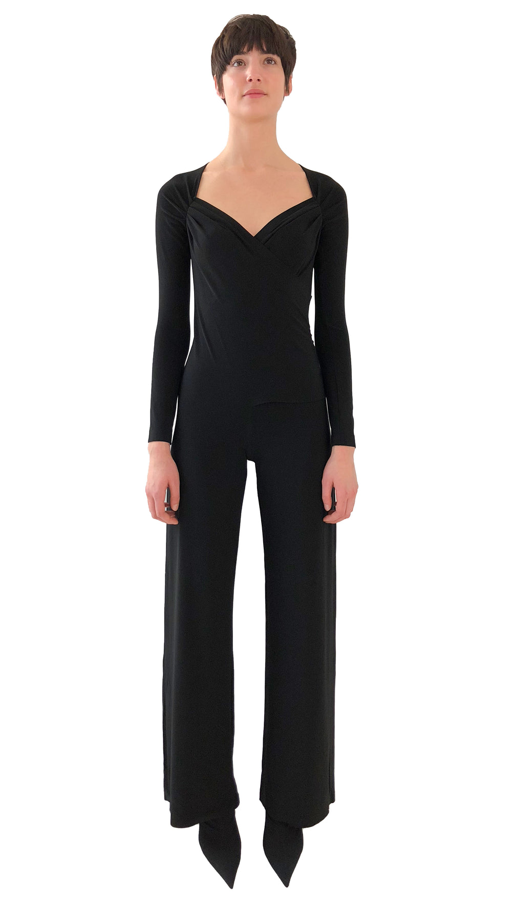 LONG SLEEVE SWEETHEART SIDE DRAPE JUMPSUIT