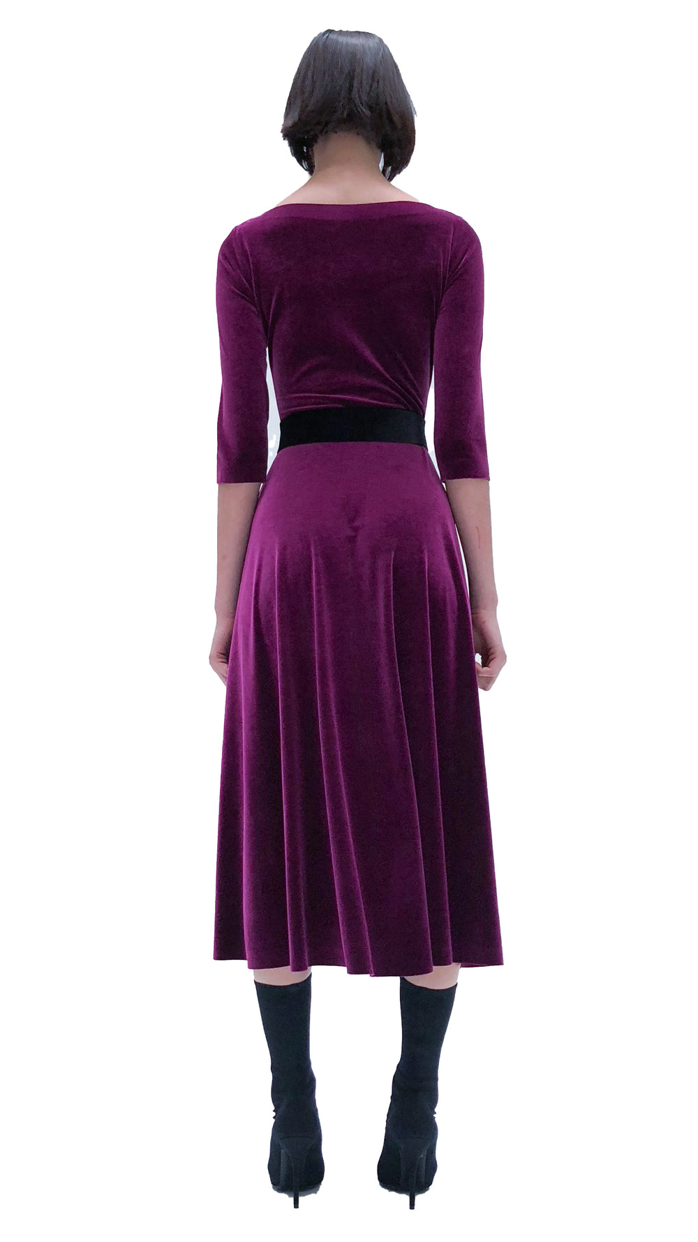 LONG SLEEVE REVERSIBLE SCOOP NECK FLARED DRESS
