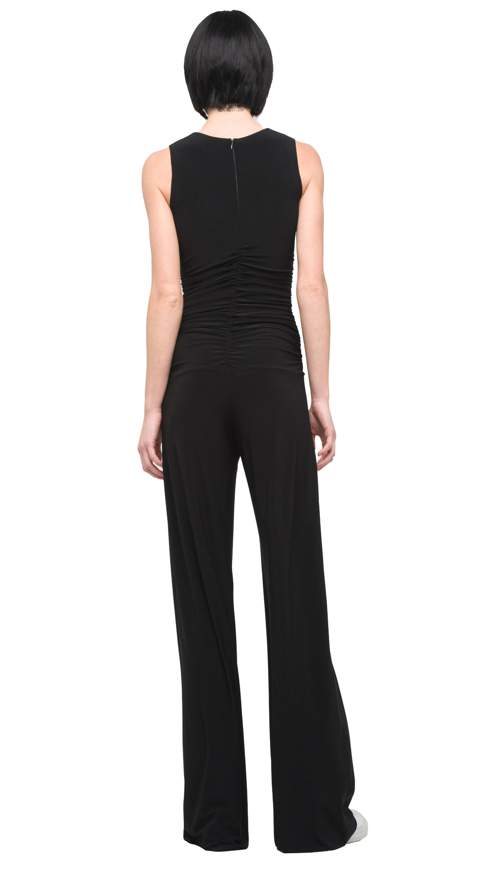 SLEEVELESS SHIRRED WAIST JUMPSUIT