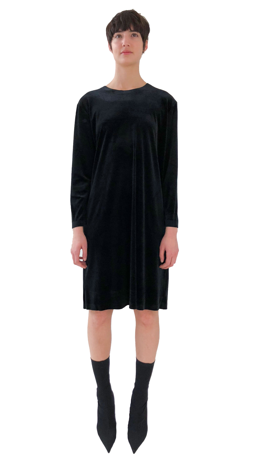 BOYFRIEND LONG SLEEVE CREW DRESS TO KNEE VELVET - 1