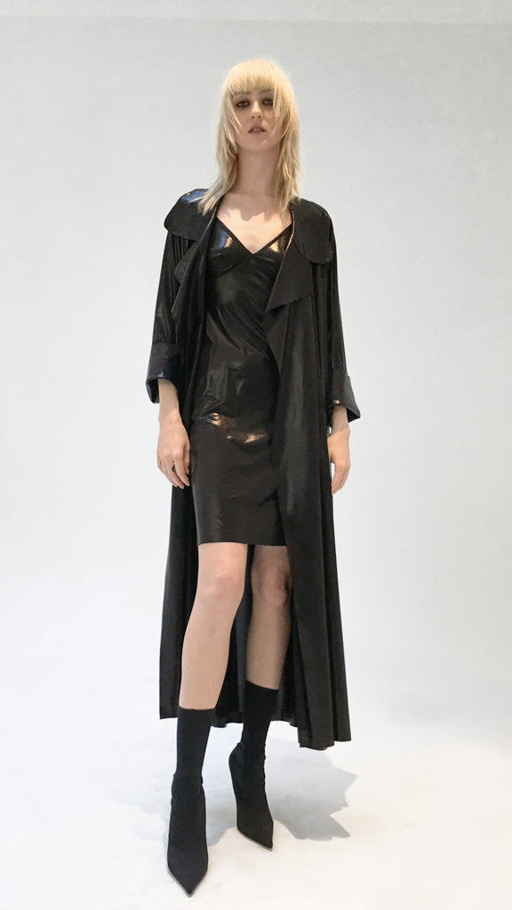 DOLMAN 80'S FLARED MIDCALF TRENCH LAME - 1