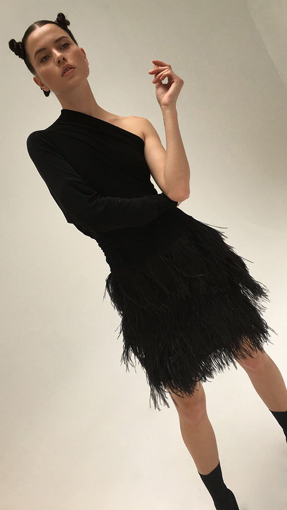 FEATHER ALL IN ONE DRESS - 1