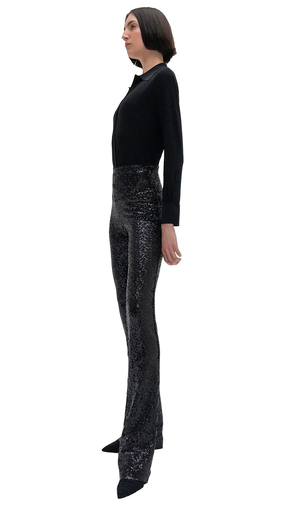 OVERLAPPING SEQUIN BOOT PANT