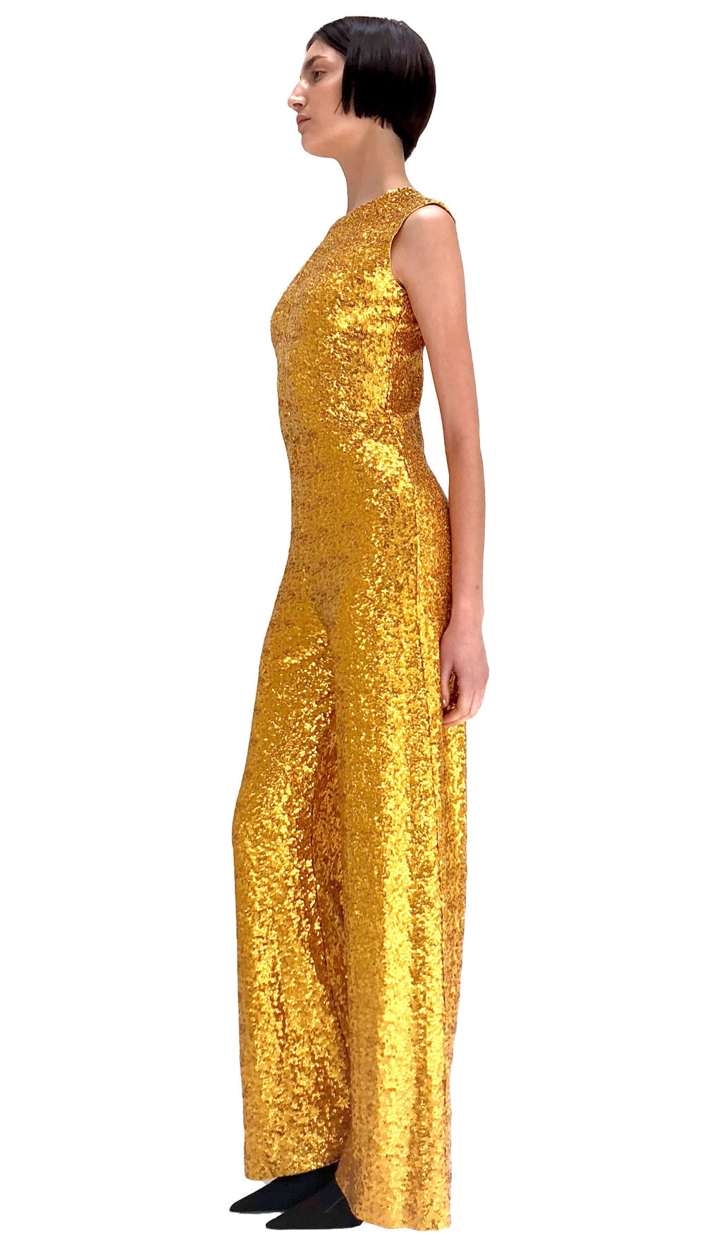 OVERLAPPING SEQUIN SLEEVELESS JUMPSUIT