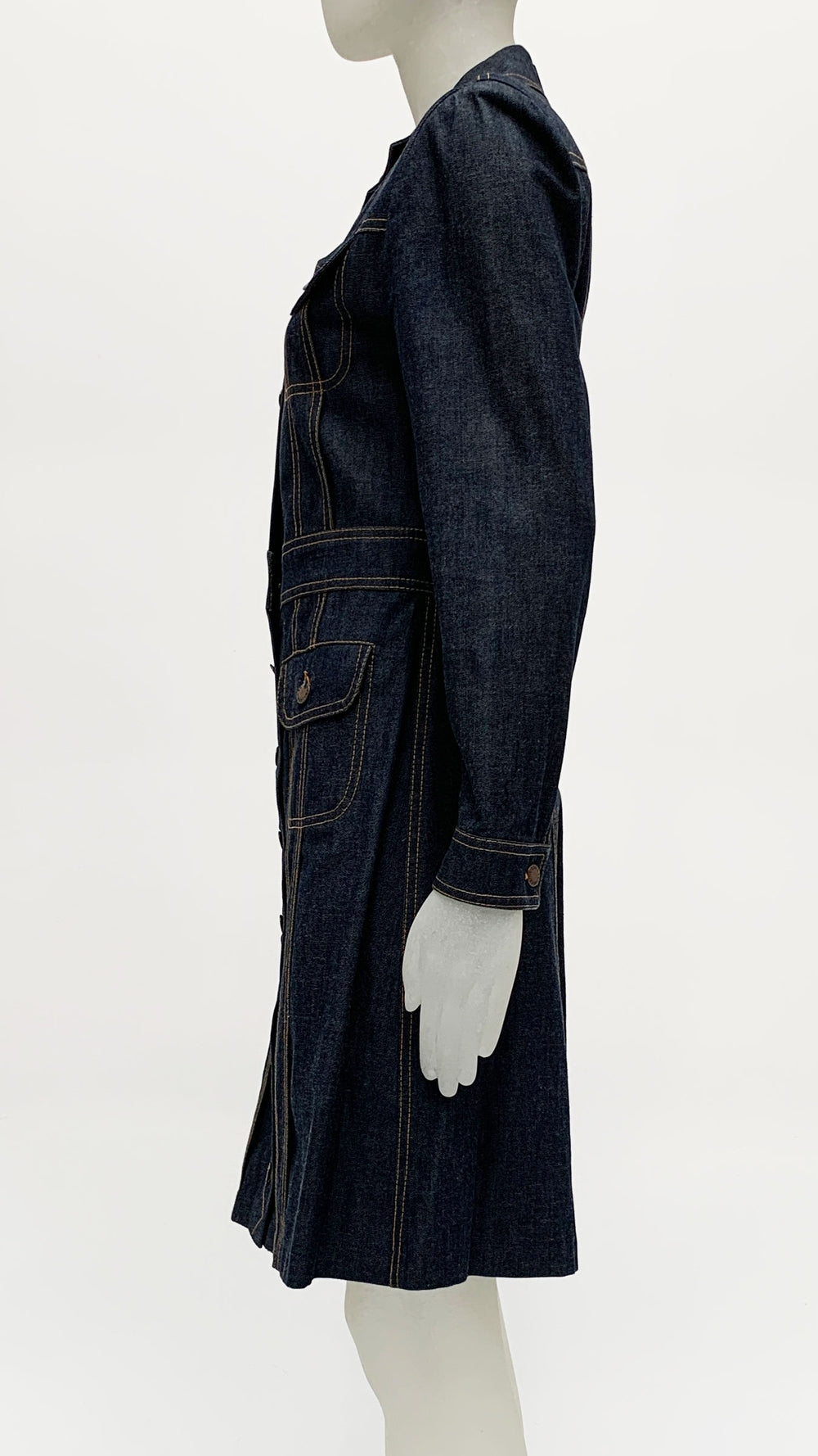 LONG JEAN JACKET WITH STITCHING DETAILS - 2