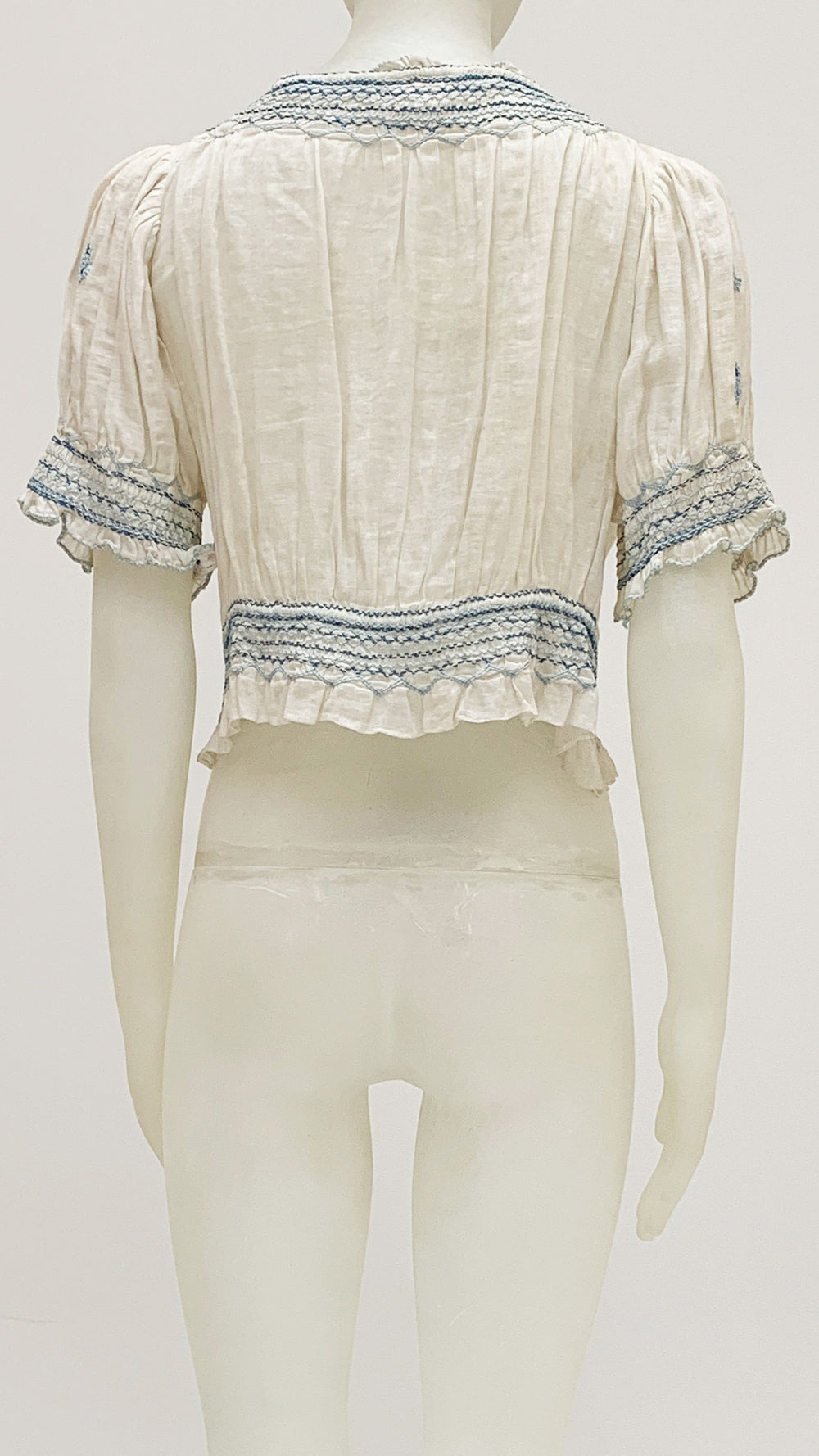 SHORT SLEEVE PEASANT TOP WITH EMBROIDERY - 2
