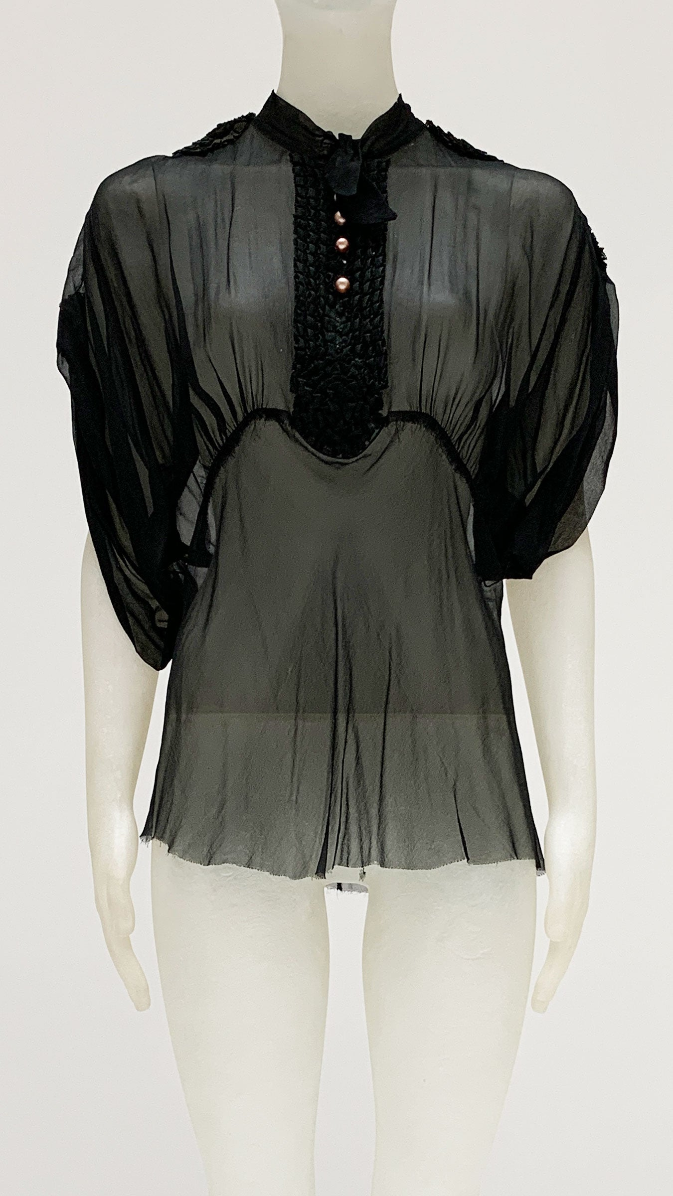 SHEER BUTTON FRONT BLOUSE - 1