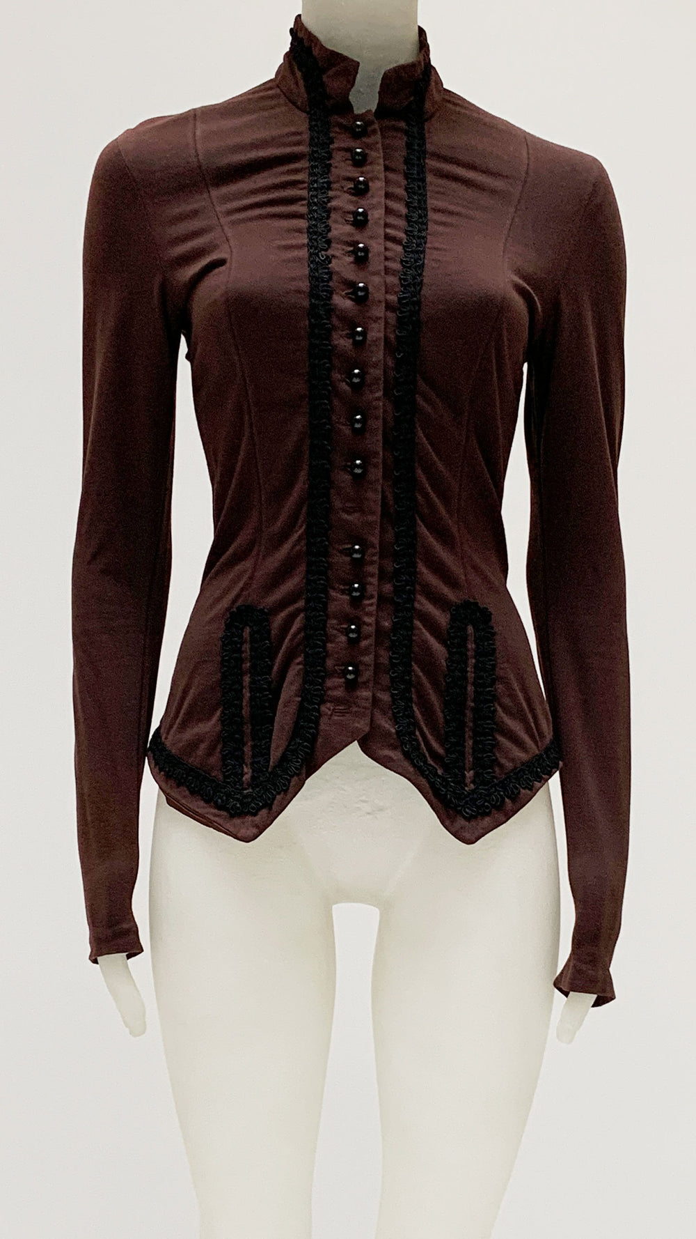 HIGH NECK LACE EMBROIDERED TOP - 1