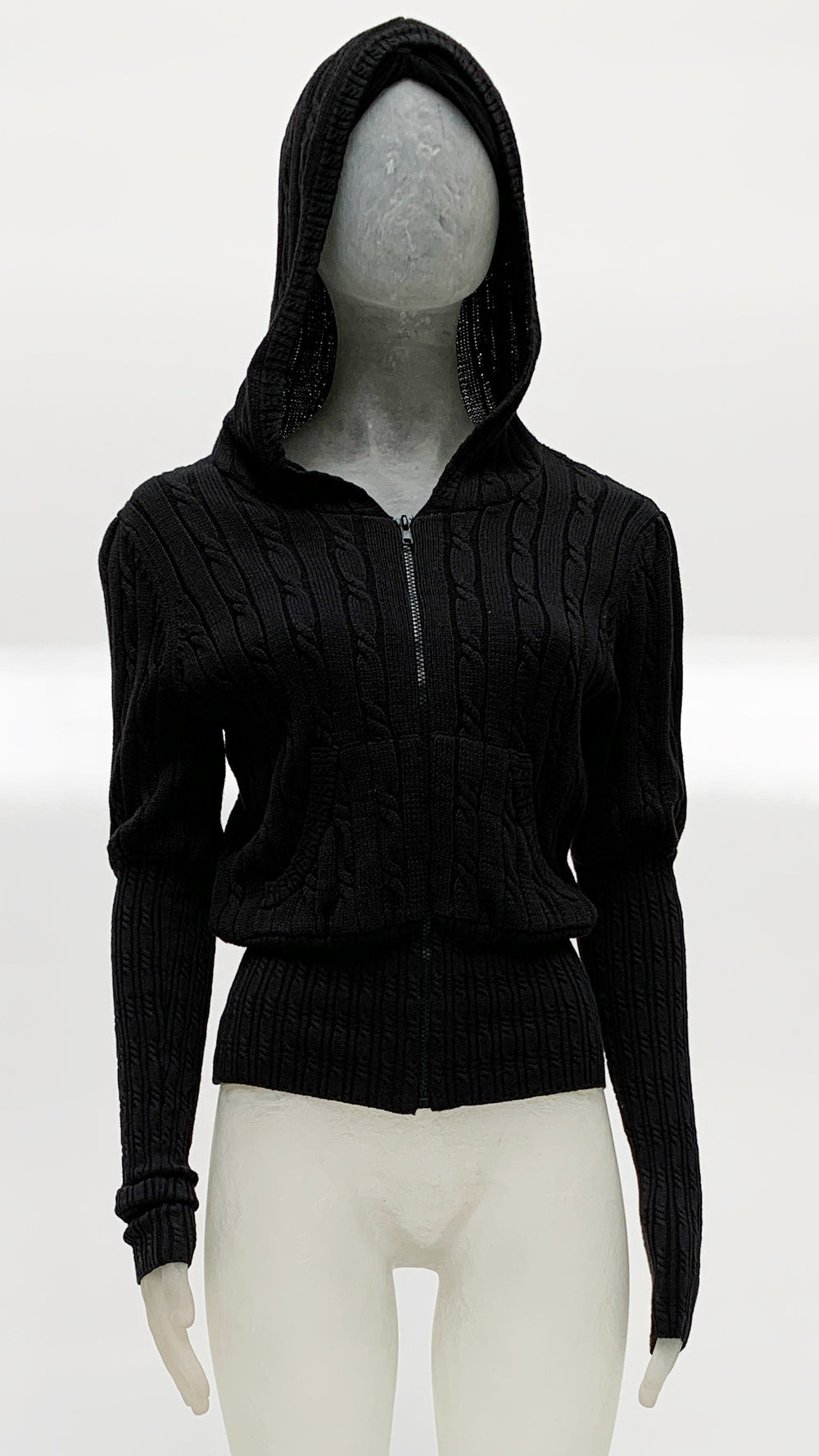 HOODED ZIP JACKET WITH PUFF SLEEVES - 1