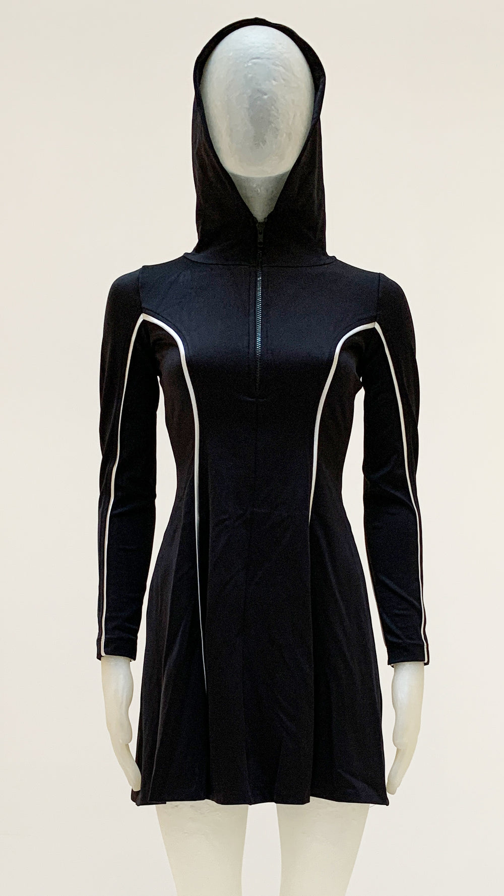 HOODED LONG SLEEVE FLARED MINI DRESS - 1