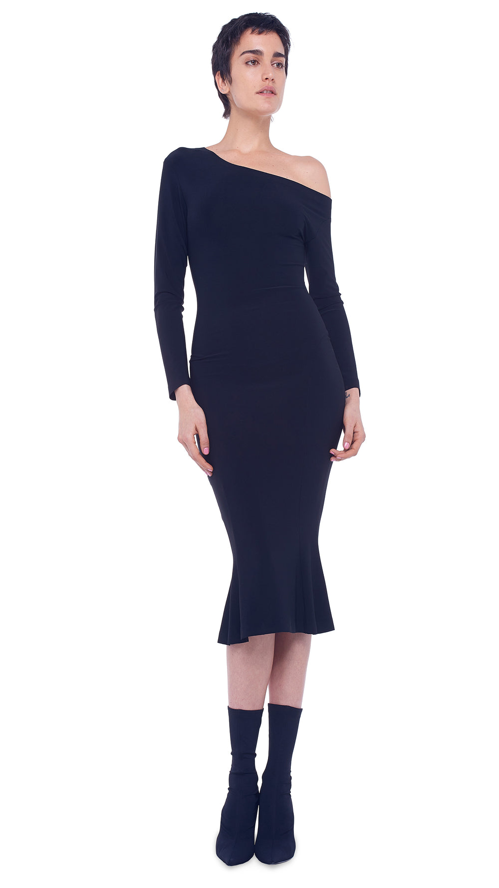 LONGSLEEVE DROP SHOULDER FISHTAIL DRESS TO MIDCALF - 1