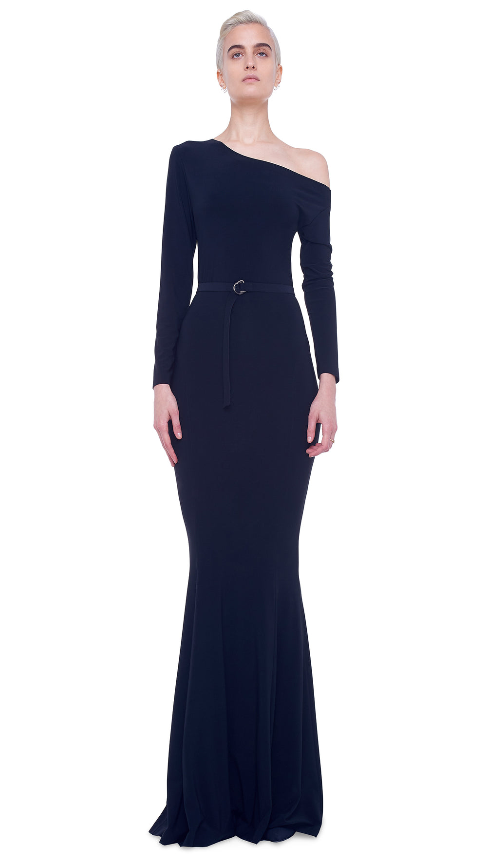 LONG SLEEVE DROP SHOULDER FISHTAIL GOWN - 1