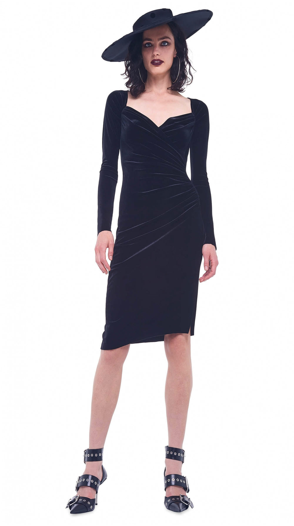 LONG SLEEVE SWEETHEART SIDE DRAPE DRESS TO KNEE VELVET - 1