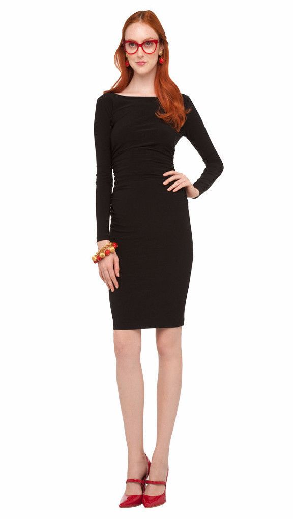 LONG SLEEVE SHIRRED WAIST DRESS - 1