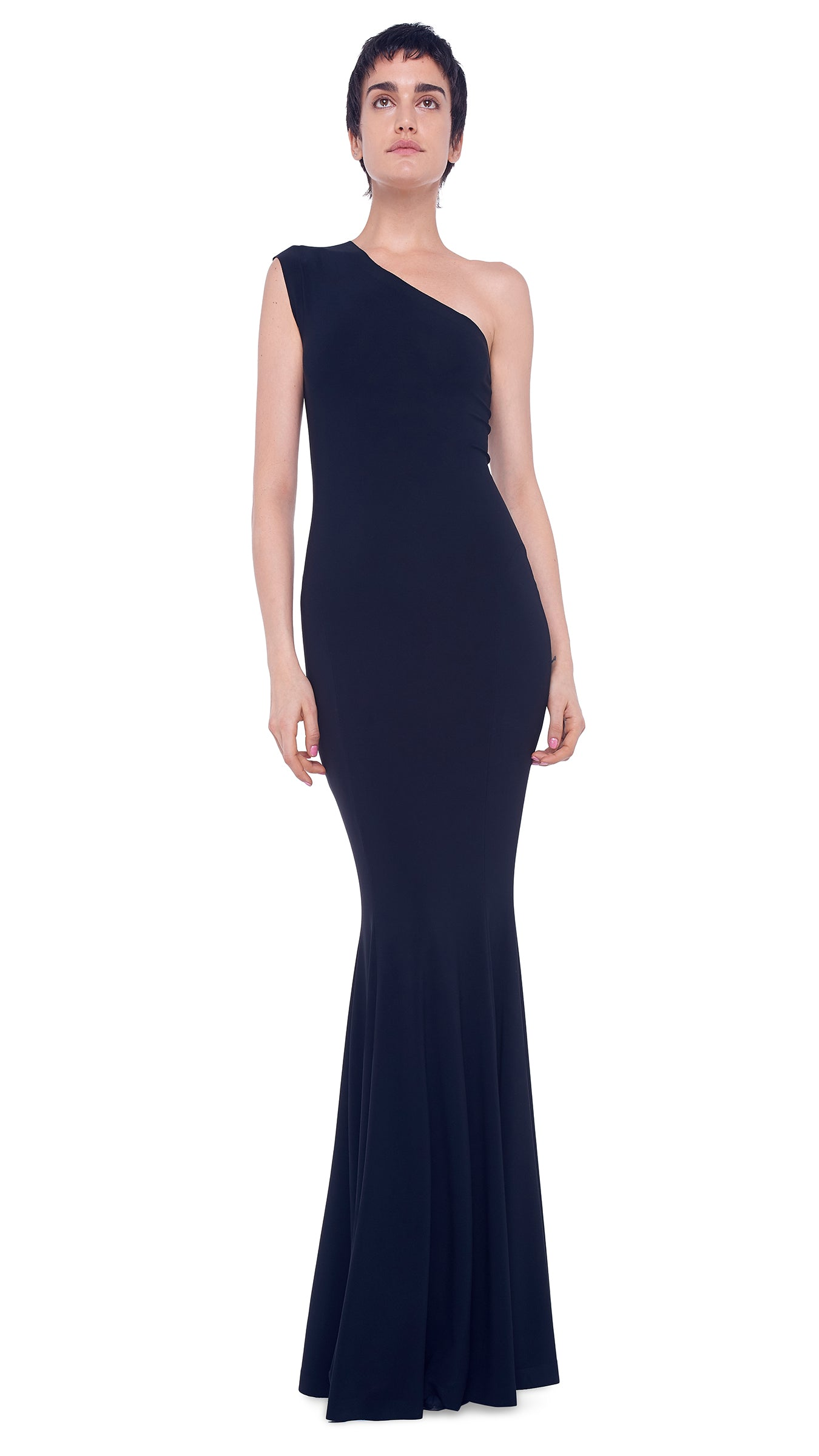 ONE SHOULDER FISHTAIL GOWN - 1
