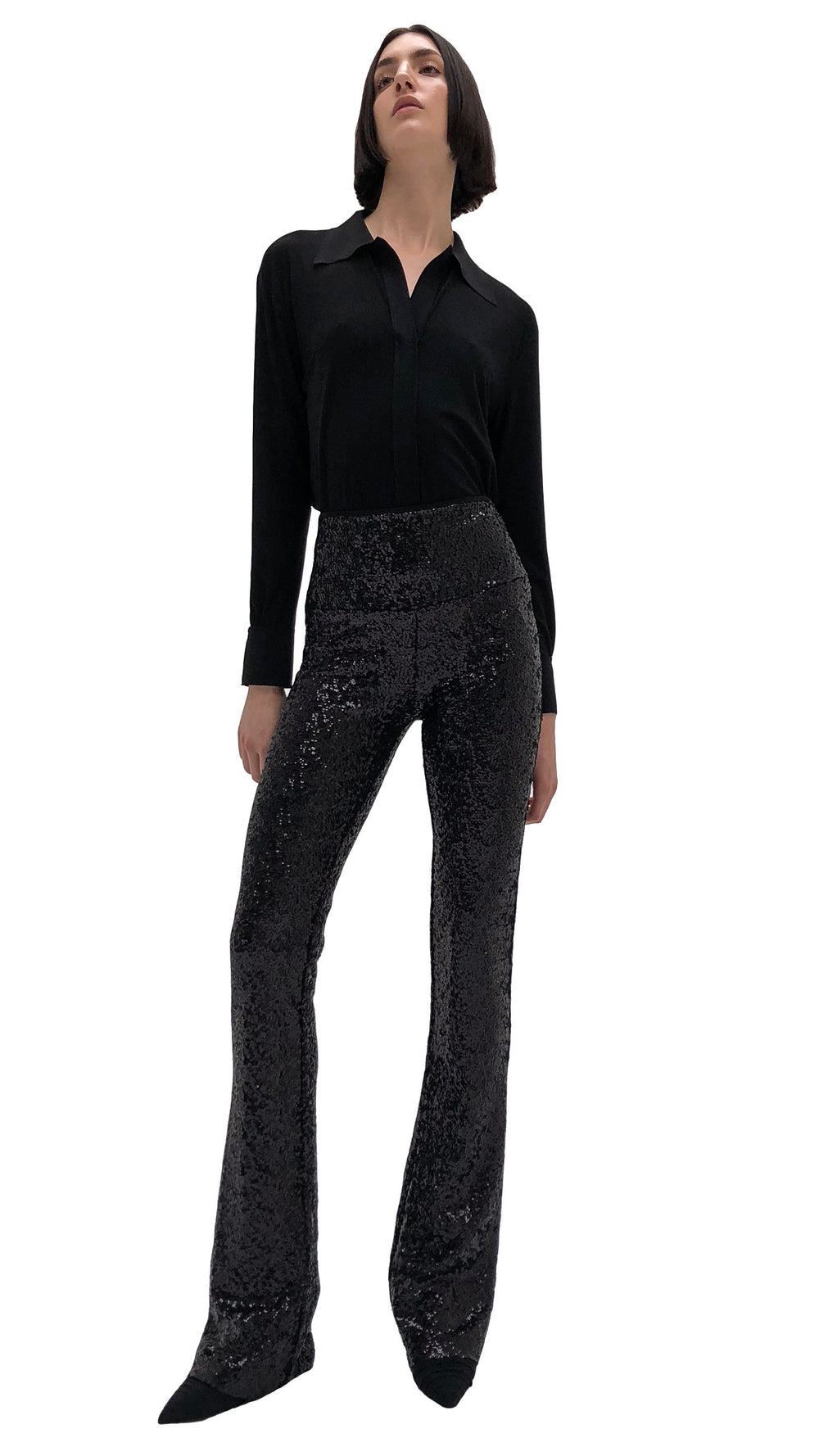 OVERLAPPING SEQUIN BOOT PANT - 1