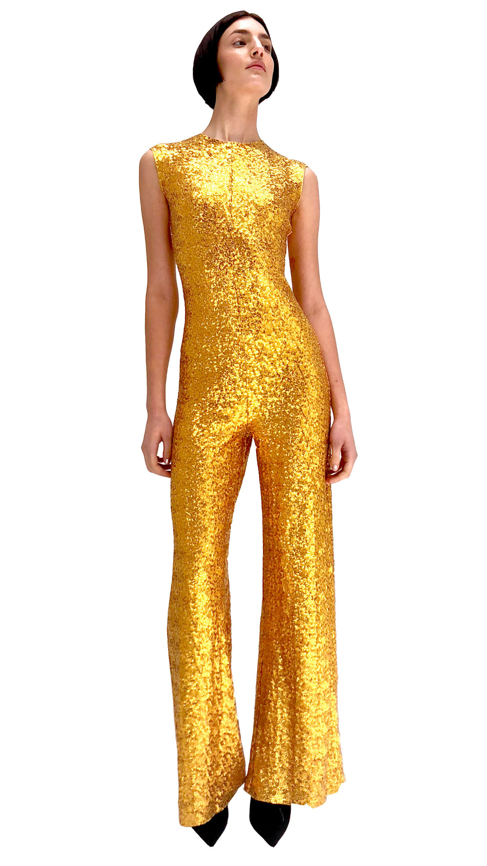 OVERLAPPING SEQUIN SLEEVELESS JUMPSUIT - 1