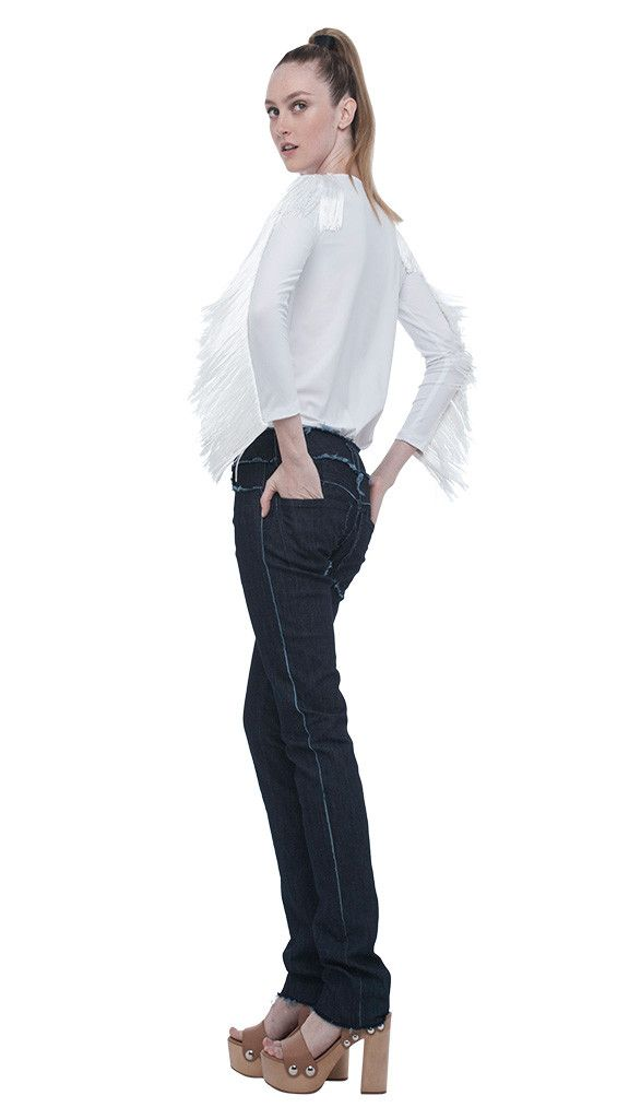 SIDE SEAM FRINGE LONG SLEEVE TOP - 1
