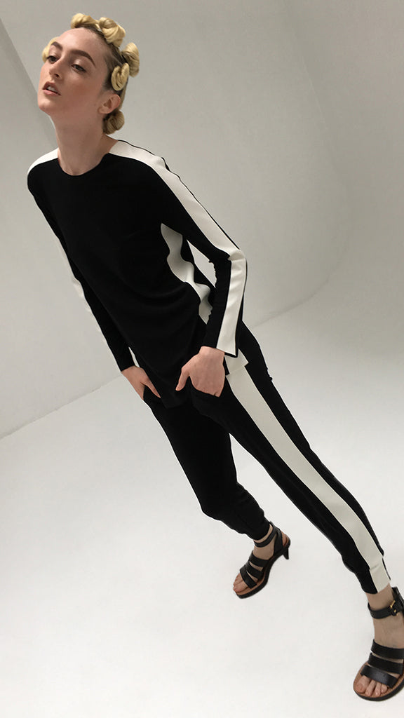 SIDE STRIPE LONG SLEEVE CREW TOP - 1