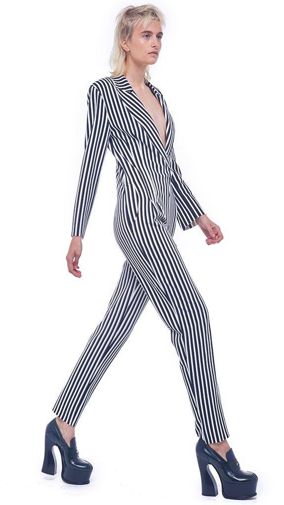 SINGLE BREASTED TAPERED LEG JUMPSUIT - 1