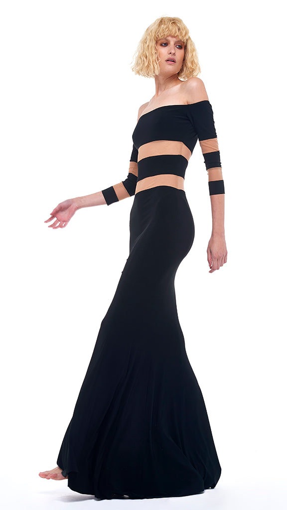 SPLICED OFF SHOULDER FISHTAIL GOWN - 1