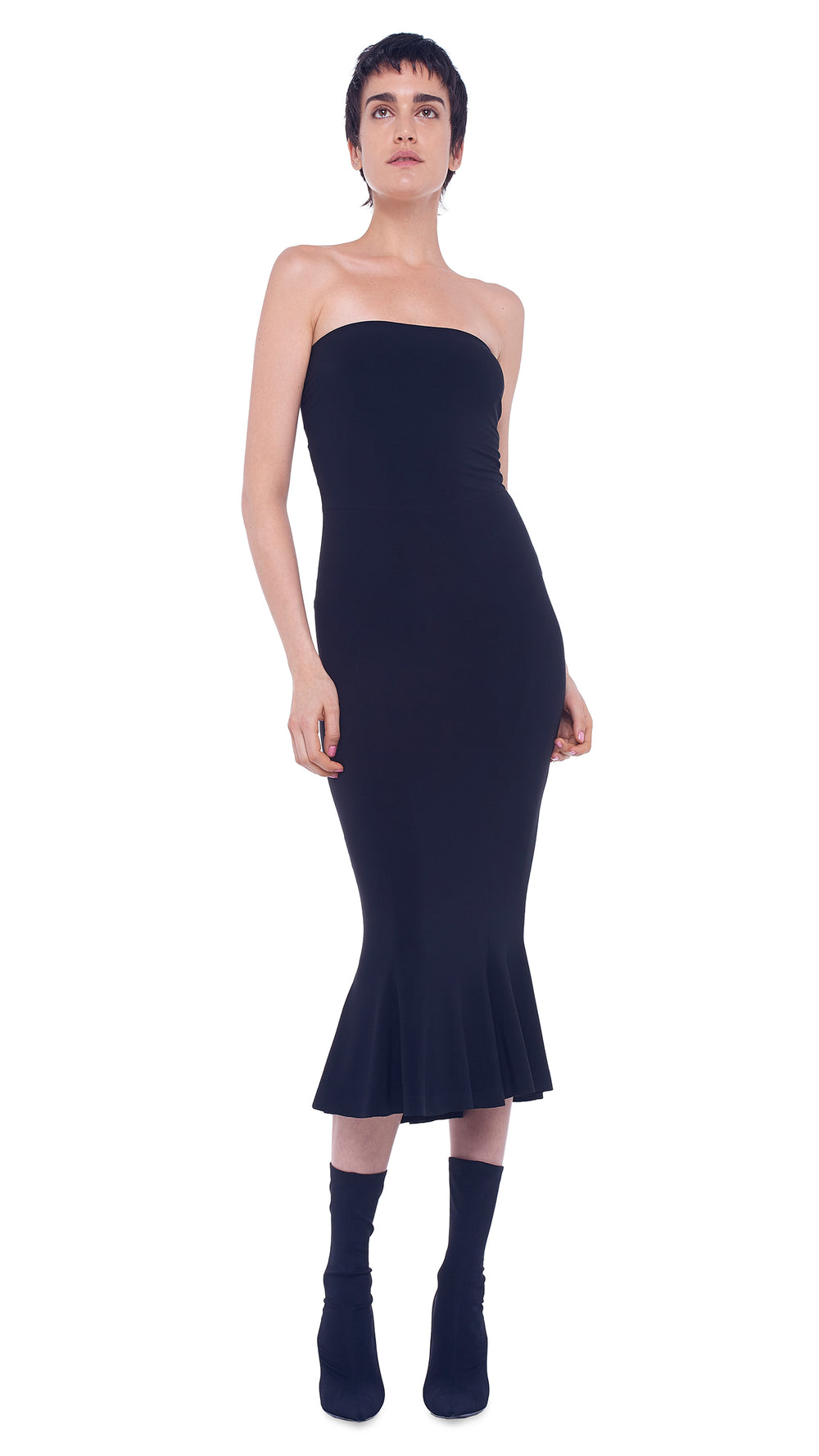 STRAPLESS FISHTAIL DRESS TO MIDCALF - 1