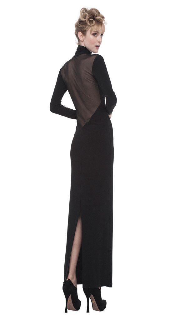 TURTLENECK LOW BACK GOWN MESH COMBO - 1