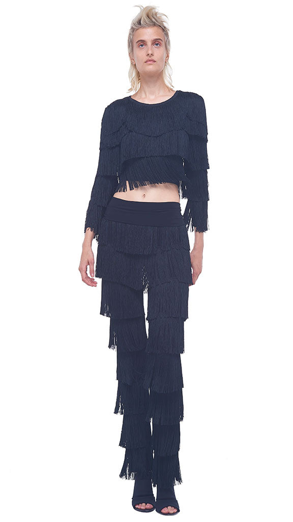 BOOT PANT ALL OVER FRINGE