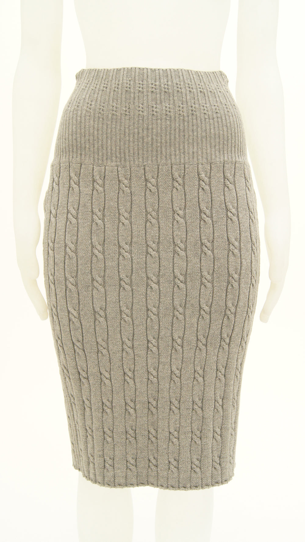STRAIGHT RIBBED SKIRT - 1