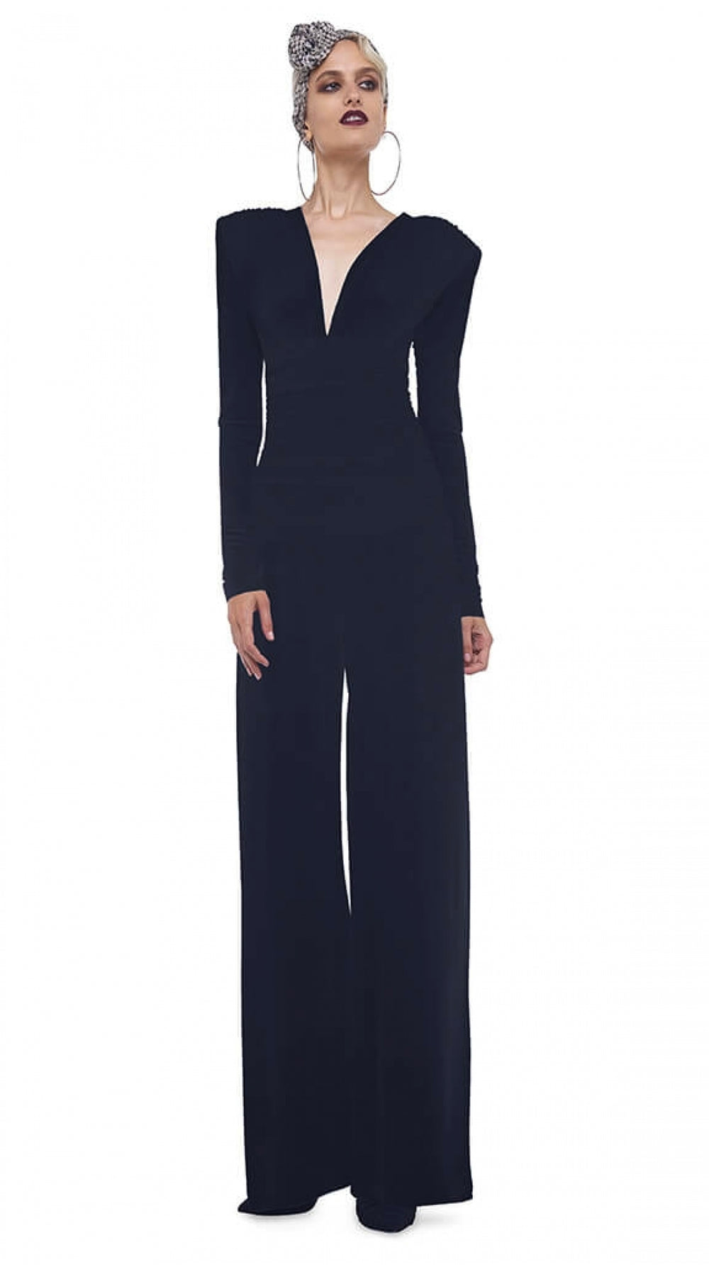 V NECK L/S SHIRRED WAIST JUMPSUIT W/ SHOULDER PADS - 1