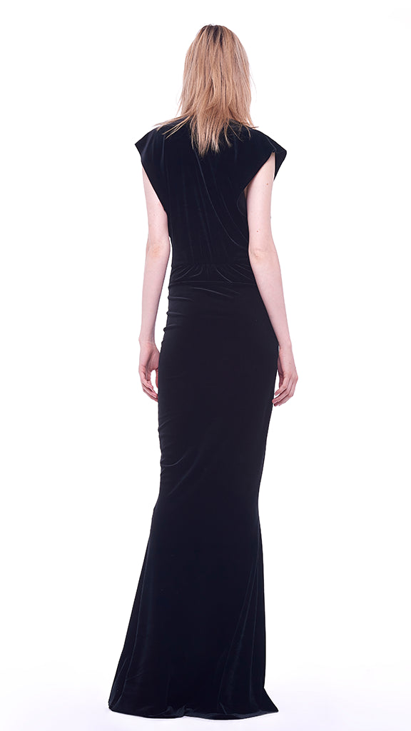 V NECK RECTANGLE GOWN