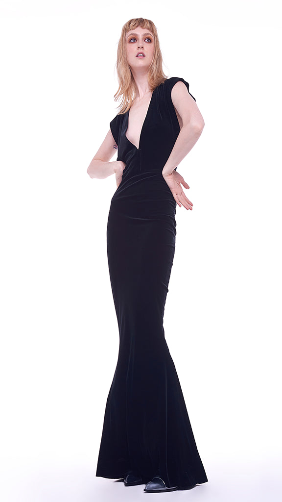 V NECK RECTANGLE GOWN - 1