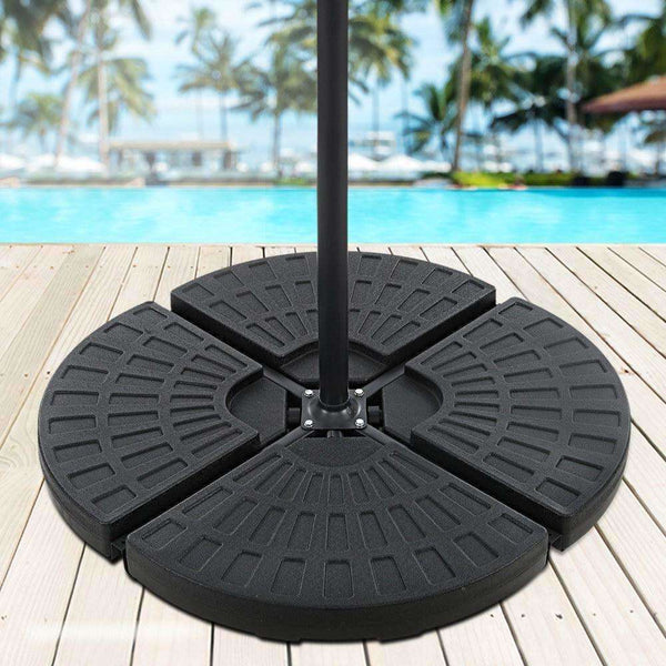 Instahut Outdoor Umbrella Stand 4 x Base Pod Plate Sand/Water Patio Cantilever Fanshaped