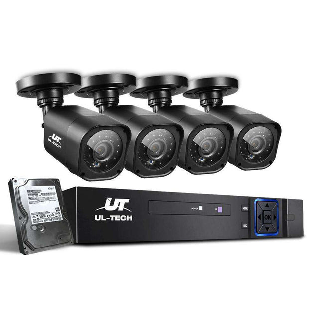 UL-tech Home CCTV Security System Camera 4CH DVR 1080P 1500TVL 1TB Outdoor Home