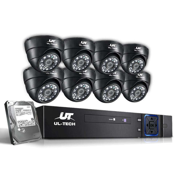 UL-Tech CCTV Security System 2TB 8CH DVR 1080P 8 Camera Sets