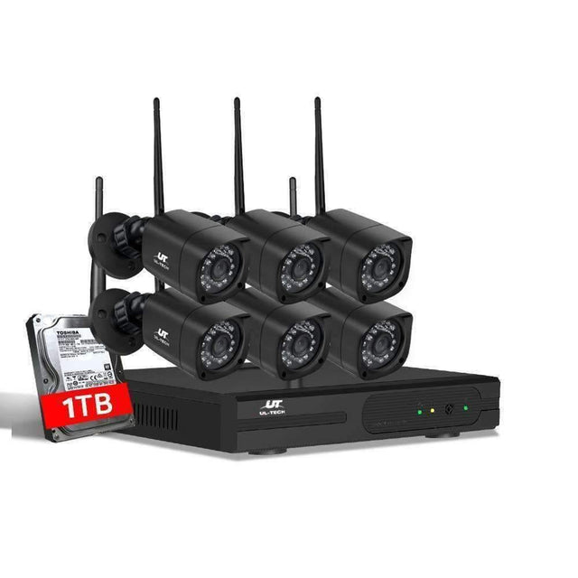UL-tech CCTV Wireless Security Camera System 8CH Home Outdoor WIFI 6 Square Cameras Kit 1TB - kartcamel.com.au