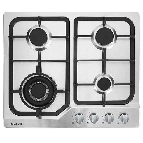 Devanti Gas Cooktop 60cm Gas Stove Cooker 4 Burner Cook Top Konbs NG LPG Steel