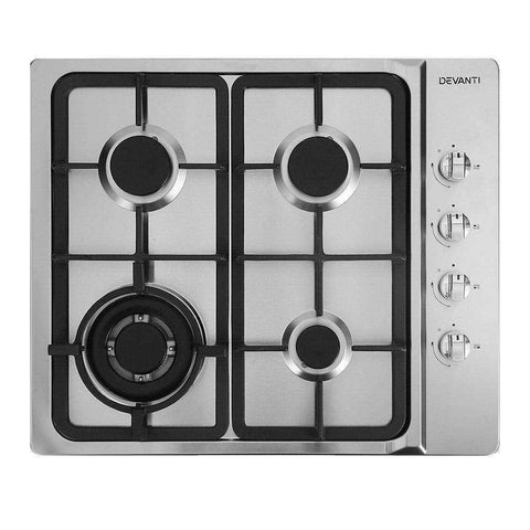 Devanti Gas Cooktop 60cm Kitchen Stove 4 Burner Cook Top NG LPG Stainless Steel Silver
