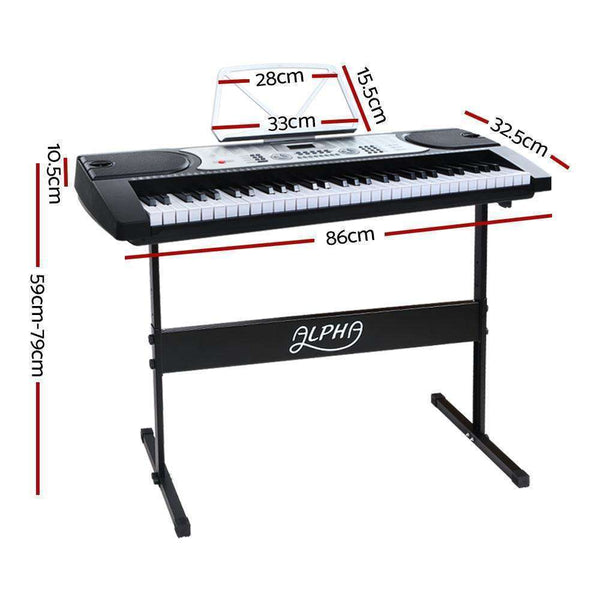 Alpha 61 Keys Electronic Piano Keyboard LED Electric Silver with Music Stand for Beginner
