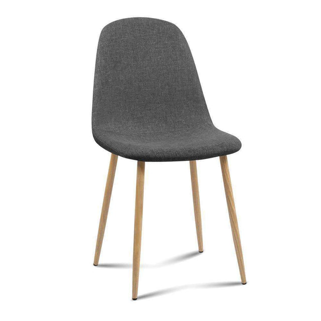Artiss 4x Adamas Fabric Dining Chairs - Dark Grey